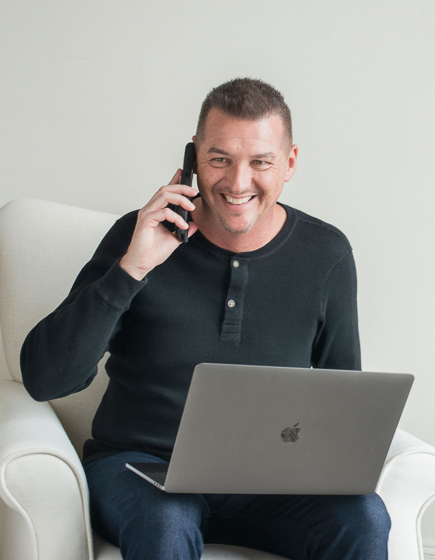 Aaron on Phone Black Shirt